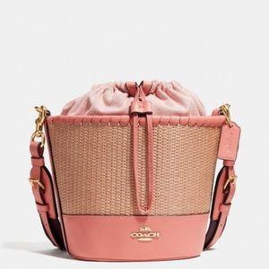 New coach coral pink straw bucket crossbody bag